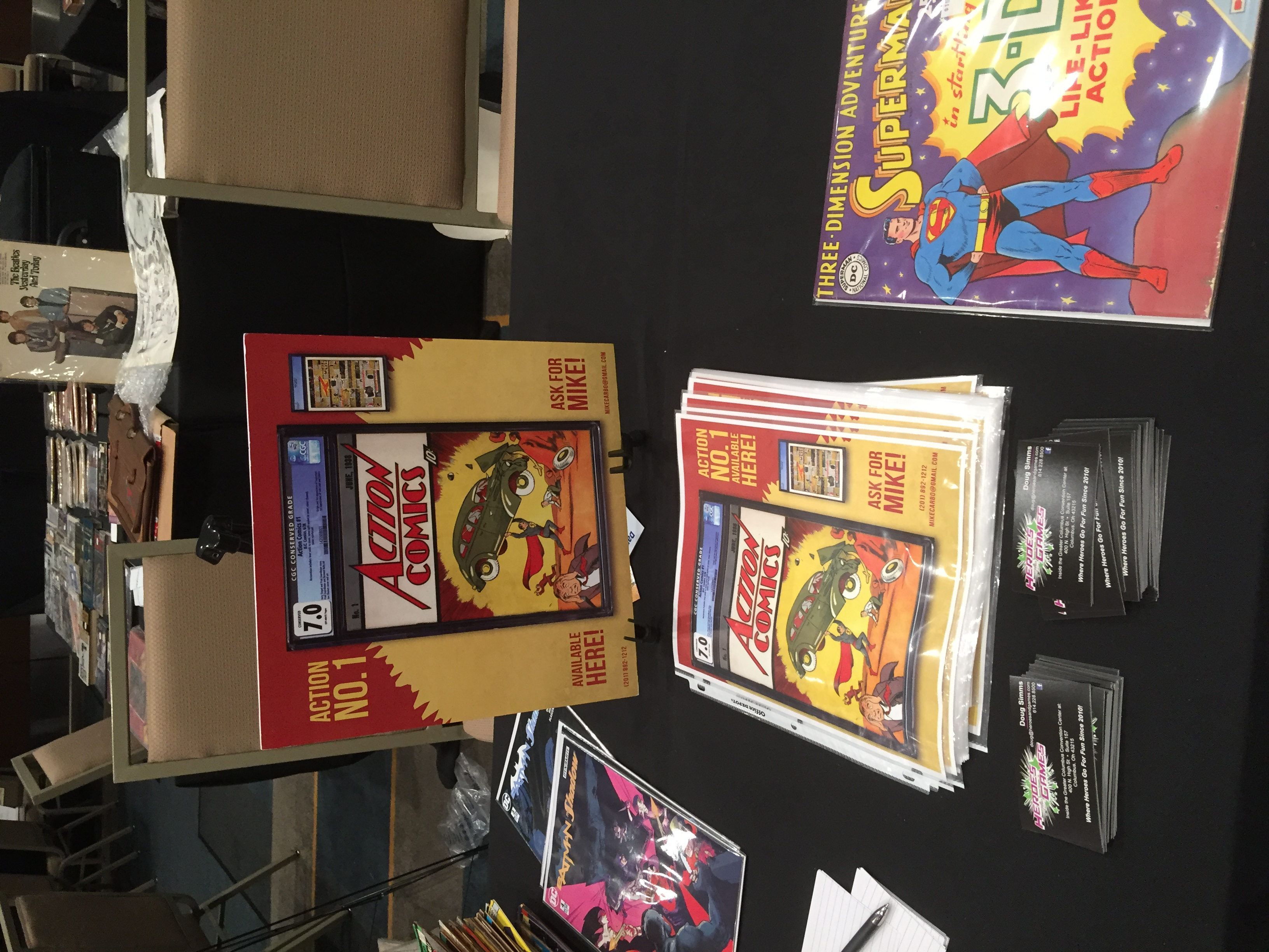 Action Comics first issue (first appearance of Superman) was on display